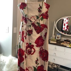 David Meister Floral Dress White Red Cotton
